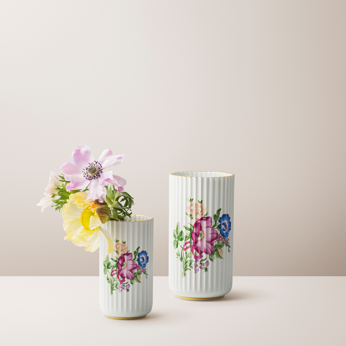White Lyngby Vase With Print And Gold Trim H 15 Cm