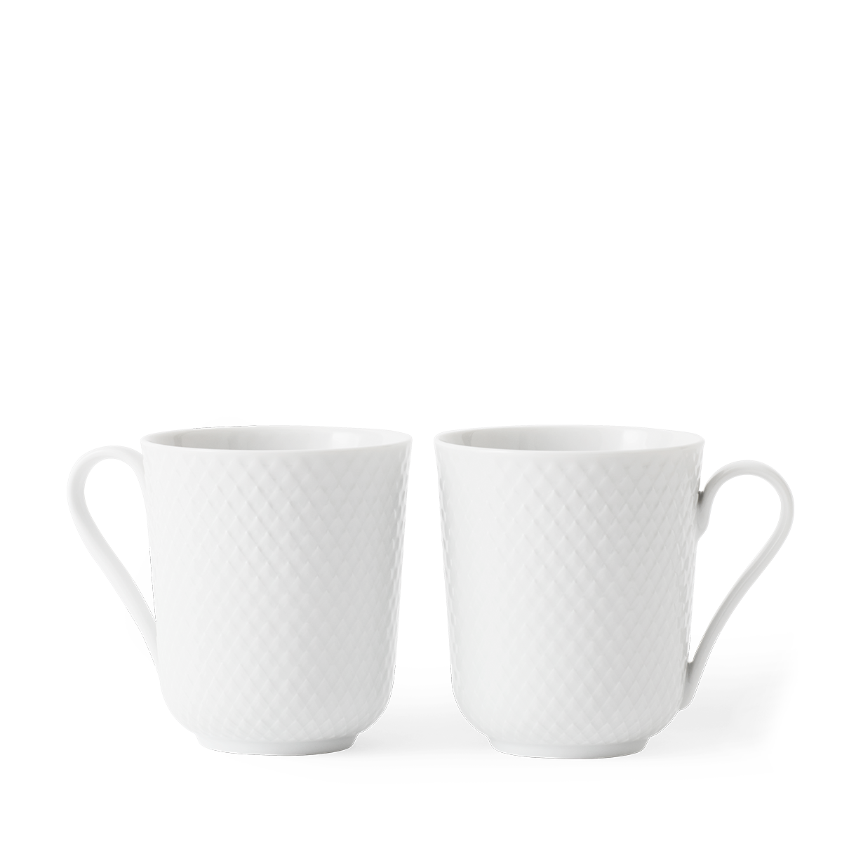 White Set Rhombe Cup With Handle Handmade Porcelain