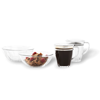 Grand Cru Soft Breakfast Set Transparent and steel , 4 pcs., Ø 15,2 cm