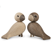 Kay Bojesen Lovebirds Natural and smoked oak., 2 pcs., 9,5 cm