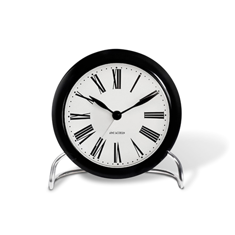 roman-table-clock-black-white-oe-11-cm-alarm-arne-jacobsen---table