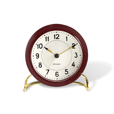 station-table-clock-burgundy-white-oe-11-cm-alarm-arne-jacobsen